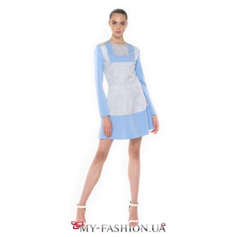 Нежное, небесно-голубое платье мини длины