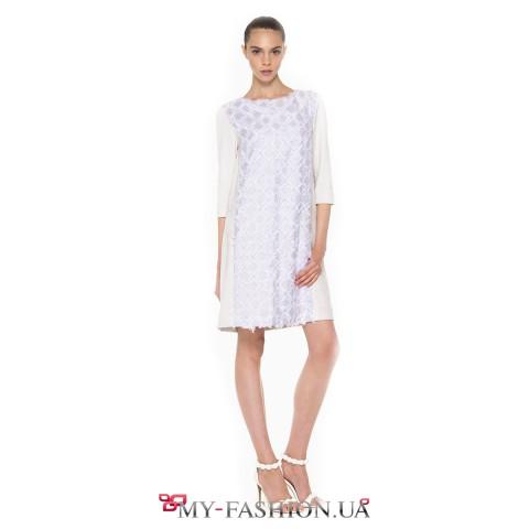 Дизайнерское платье из эко-замша и фактурного жаккарда