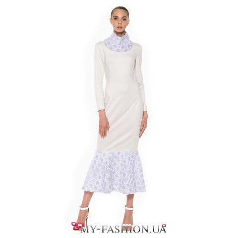 Платье из эко-замша благородного серо-голубого цвета