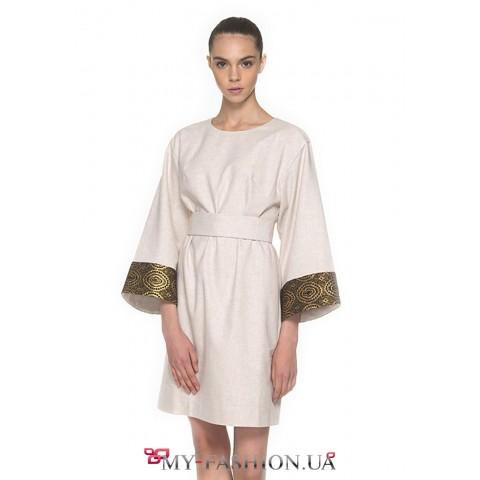 Потрясающее платье бежевой - меланжевой расцветки