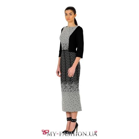 Черное платье миди длины из французского жаккарда