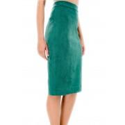 Нифритовая юбка-карандаш из эко-замши