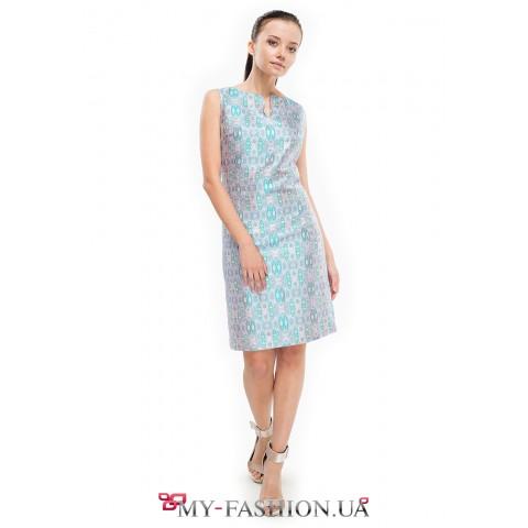 Стильное мини платье с оригинальным рисунком