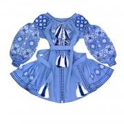 Короткое платье- вышиванка в холодных тонах