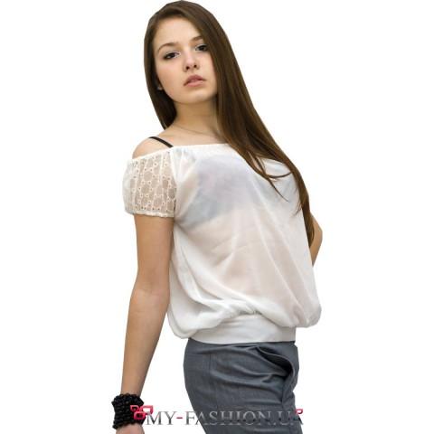 Блузка из шифона с рукавами - реглан