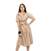 Платье сафари из хлопка бежевое