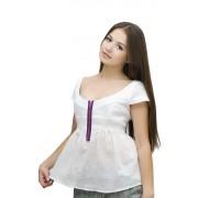 Блузка белая летняя с замком
