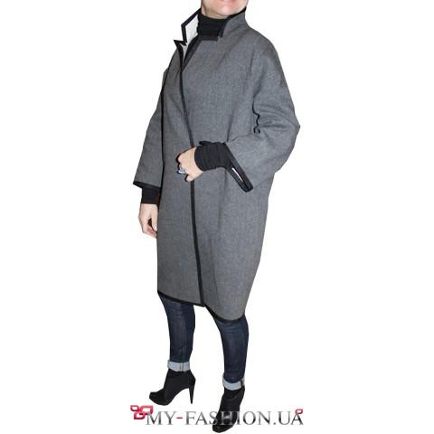 Шерстяное пальто-кимоно свободного кроя