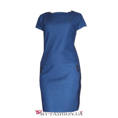 Синее платье-миди с короткими рукавами