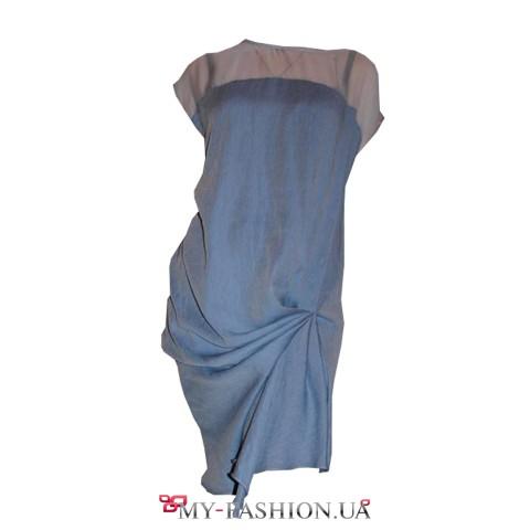 Коктейльное платье из тонкого шёлка на отрезной кокетке