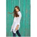 Белая хлопковая рубашка удлинённой модели