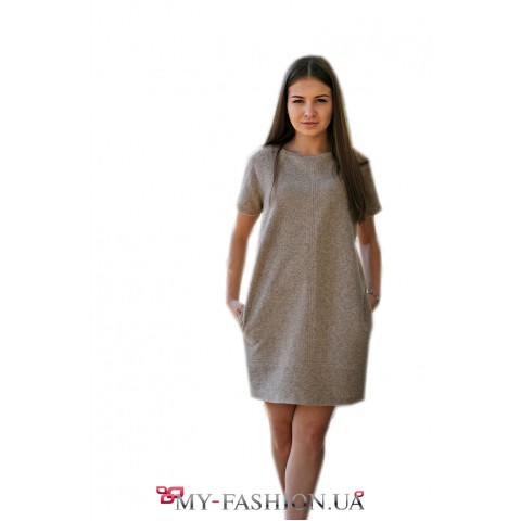Короткое меланжевое зимнее платье