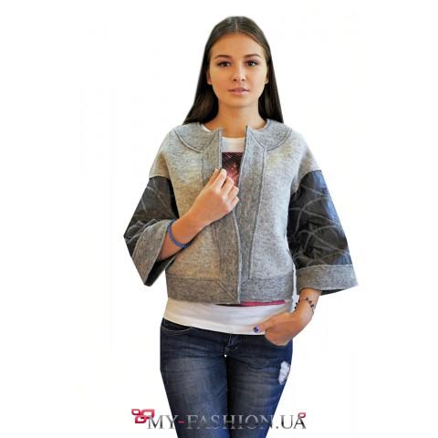 Комбинированная куртка-жакет из валяной шерсти