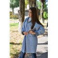 Осеннее пальто голубого цвета