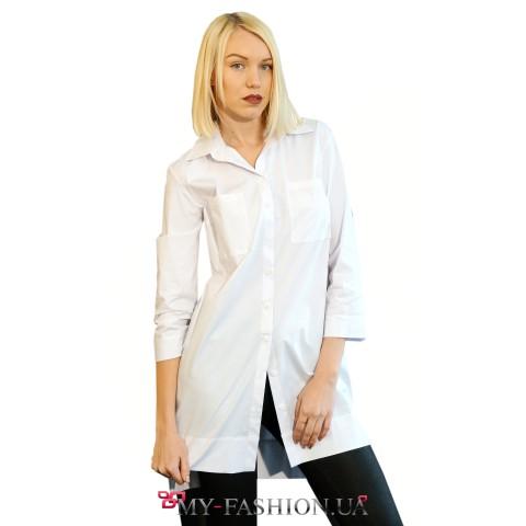Белая асимметричная рубашка удлинённой модели