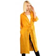 Жёлтая женская рубашка удлинённой модели