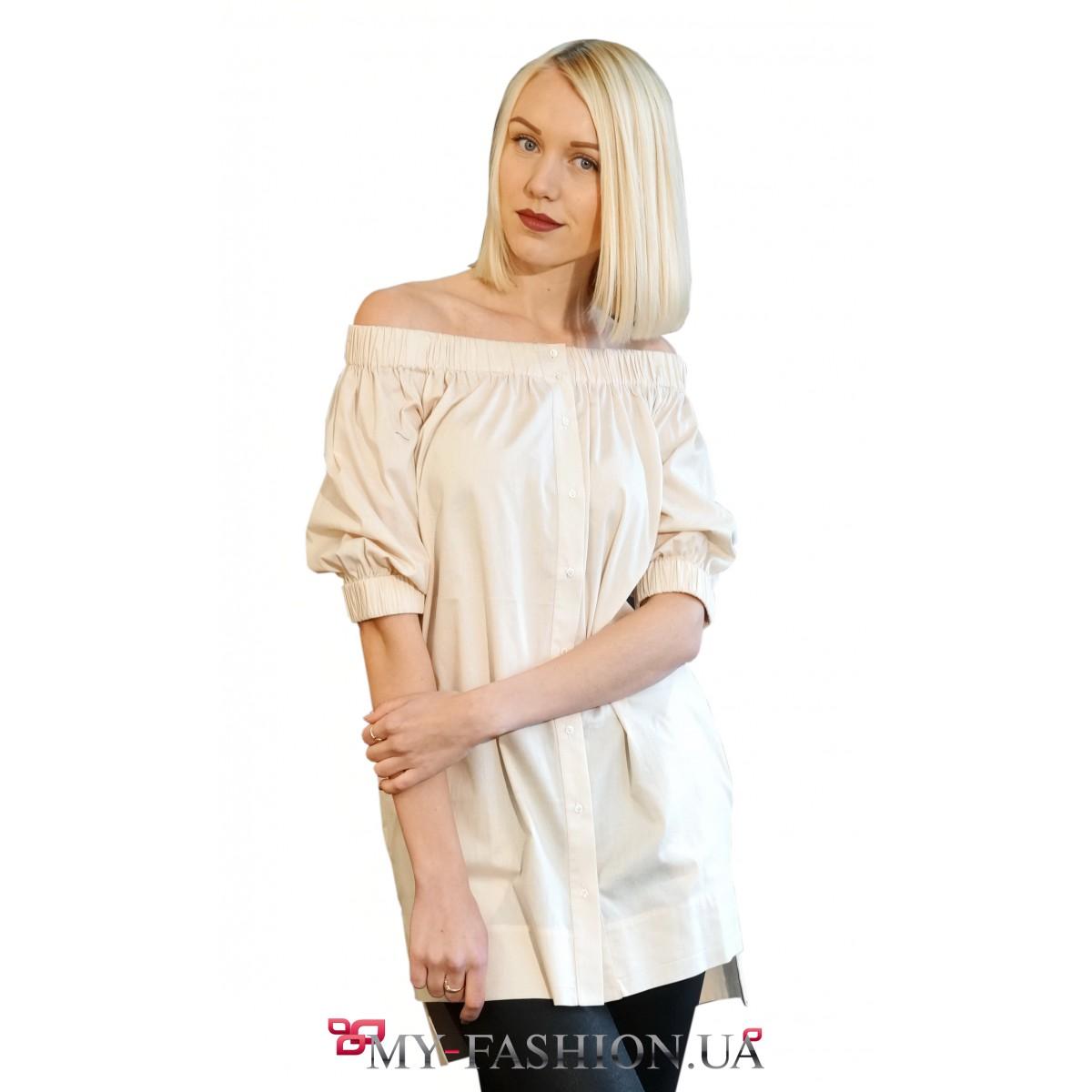 cf504b88b68 Асимметричная женская рубашка молочного цвета купить в интернет ...