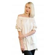 Асимметричная женская рубашка молочного цвета
