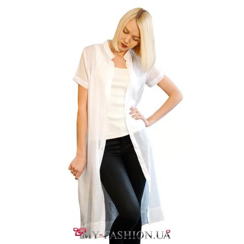 Женская белая рубашка с коротким рукавом