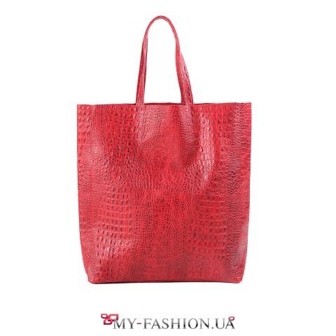 Кожаная сумка красного цвета с тиснением