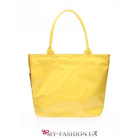 Жёлтая лаковая сумка с мягкими ручками