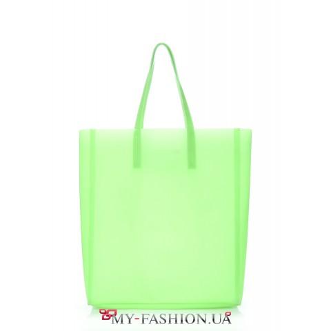 Зелёная вместительная силиконовая сумка