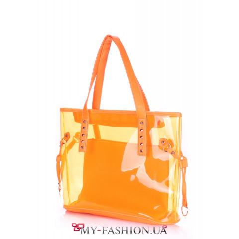 Стильная вместительная сумка жёлтого цвета