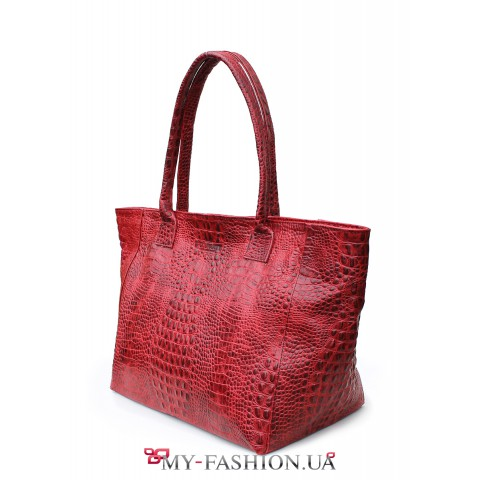 Красная сумка из натуральной кожи с тиснением
