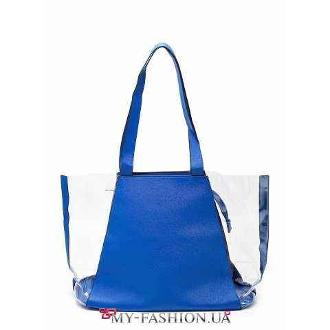 Прозрачная сумка с синими вставками