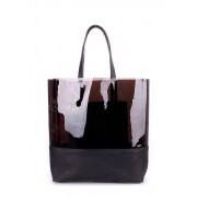 Стильная полупрозрачная лаковая сумка чёрного цвета