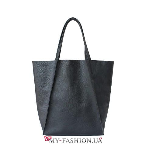 Стильная чёрная сумка из натуральной кожи