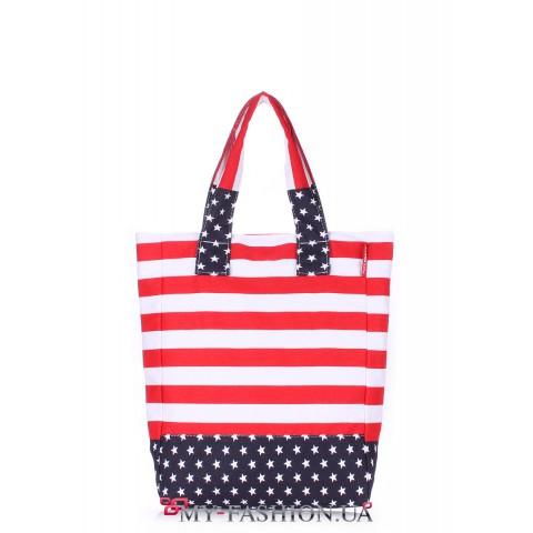 Молодёжная хлопковая сумка под американский флаг
