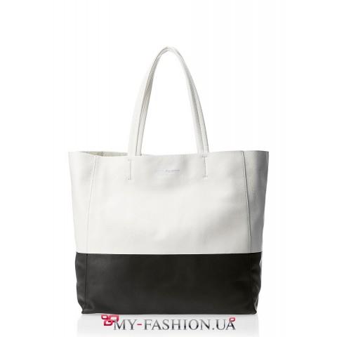 Чёрно-белая кожаная сумка без подкладки