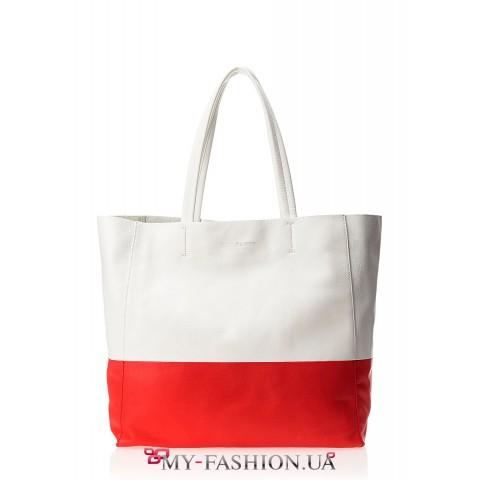 Вместительная красно-белая кожаная сумка