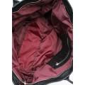 Вместительная чёрная кожаная сумка с тиснением