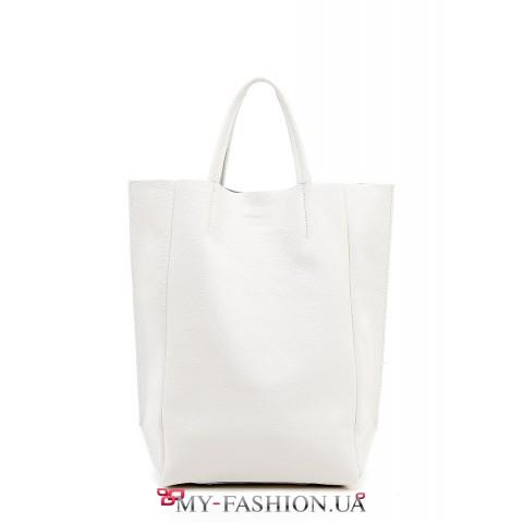 Белая кожаная сумка без подкладки