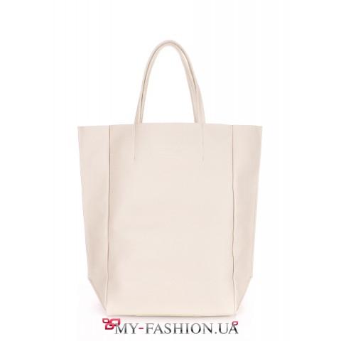 Бежевая сумка из натуральной кожи без подкладки