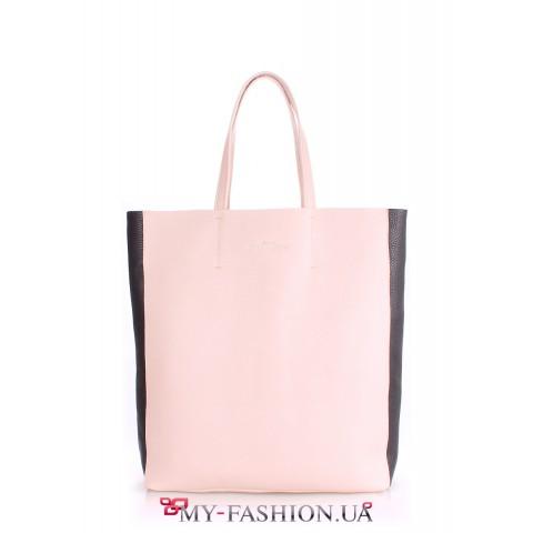 Стильная сумка нежного розового цвета с чёрными вставками