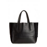 Кожаная чёрная сумка c замшевыми вставками
