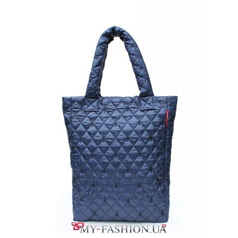 Молодёжная вместительная сумка синего цвета