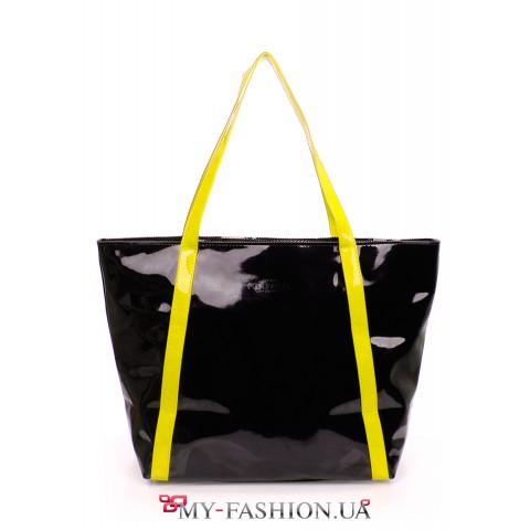 Вместительная чёрная сумка с жёлтыми ручками