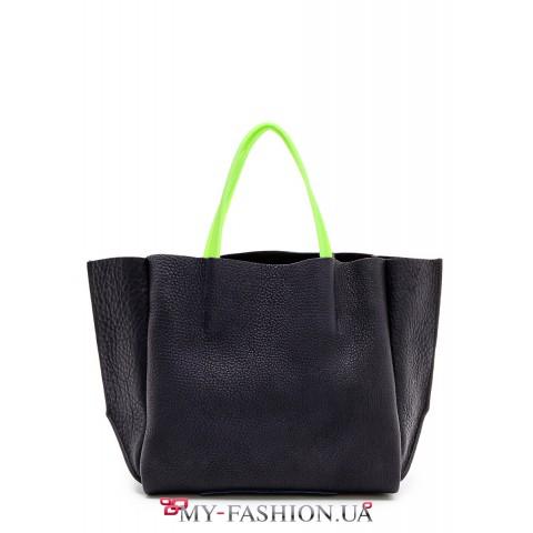 Чёрная кожаная сумка с салатовыми силиконовыми ручками
