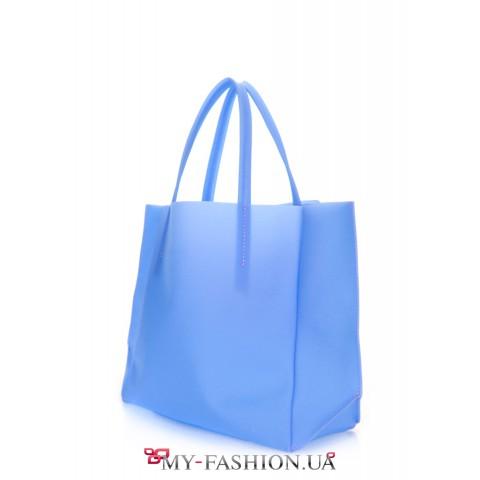 Молодёжная прозрачная сумка нежно-голубого цвета