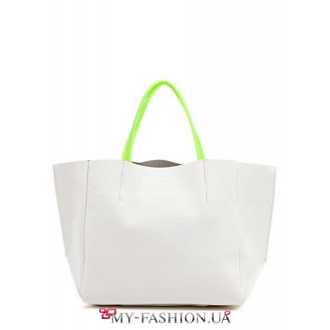 Белая кожаная сумка с салатовыми силиконовыми ручками