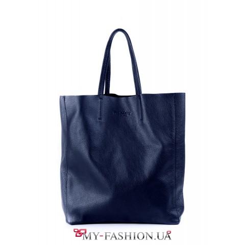 Синяя сумка из натуральной кожи без подкладки