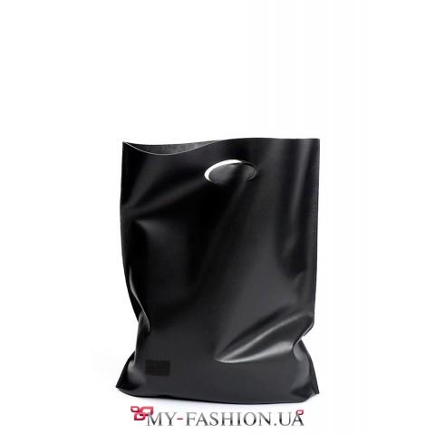 Сумка-мешок чёрного цвета из телячьей кожи