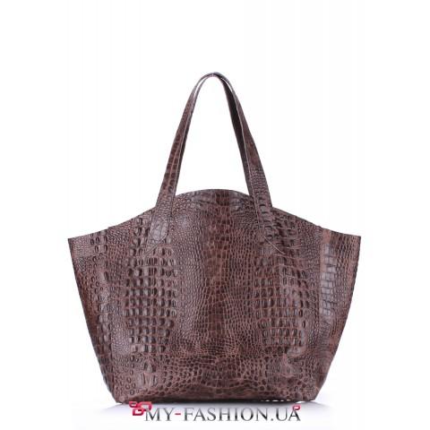 Вместительная кожаная сумка коричневого цвета без подкладки