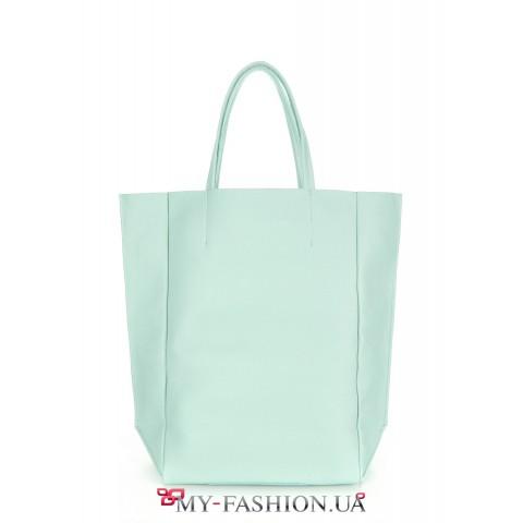 Кожаная сумка нежного салатового цвета