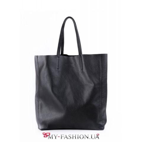 Вместительная сумка из чёрной глянцевой кожи