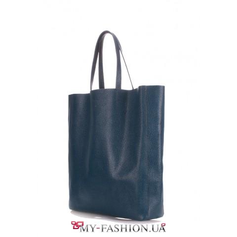 Кожаная сумка цвета морской волны